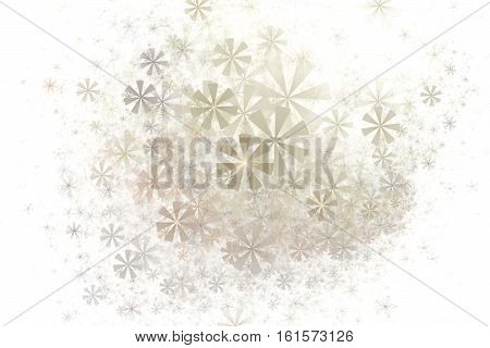Soft abstract floral fractal pattern on white square background