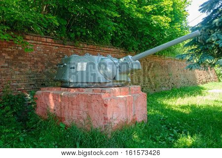 Baltiysk, Russia - June 29, 2010: Monument to special forces at Ravelin Ludwig. Turret of T-34-76 tank established on a pedestal. It was applied as the main weapon on armor boats since 1942