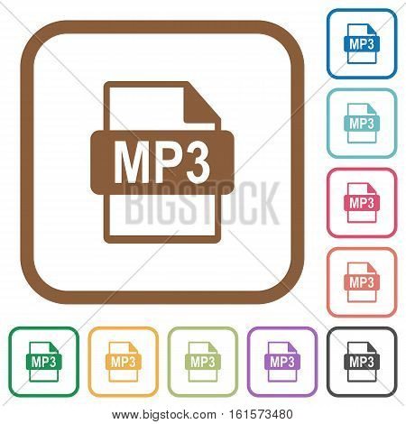 MP3 file format simple icons in color rounded square frames on white background