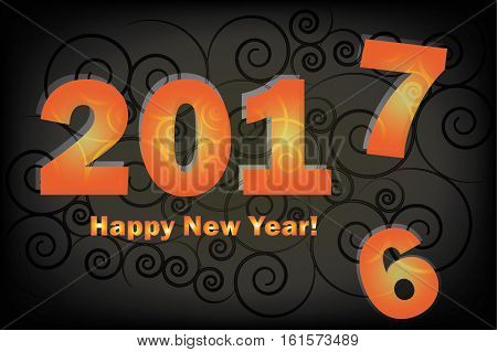 New Year 2017 is coming. Happy New Year 2017 replace 2016 year. Black gradient background