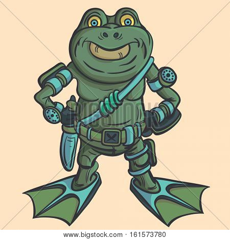 Amphibian warrior. Alien alien intelligence. Vector illustration