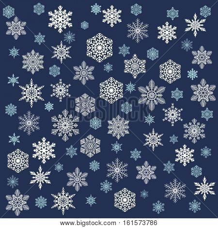 Snowy Christmas Background. White snowflakes, blue sky