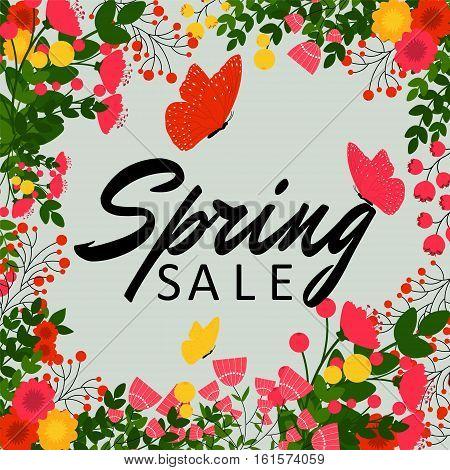 Spring Sale Banner, Sale Poster, Sale Flyer, Sale Vector. Vector illustration