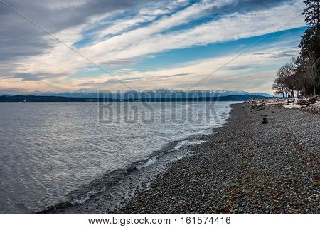 A view of the snowcapped peaks of the Olympic Mountains in Washington State.