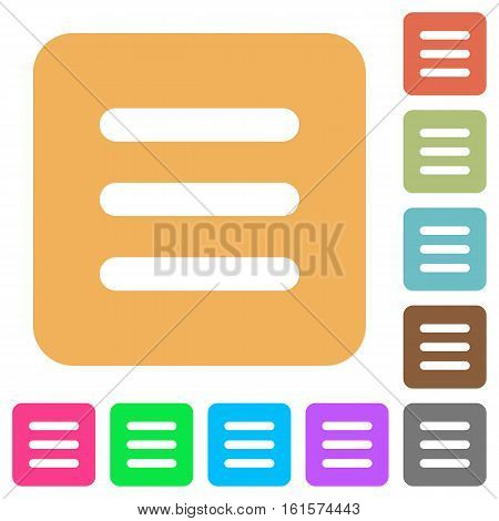 Menu icons on rounded square vivid color backgrounds.