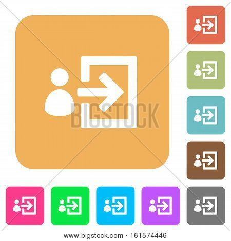 User login icons on rounded square vivid color backgrounds.