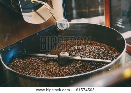 Fresh Coffee Beans - Freshly roasted spinning cooler professional machine.