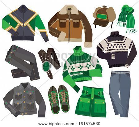 set of warm winter fashion clothes (vector illustration)