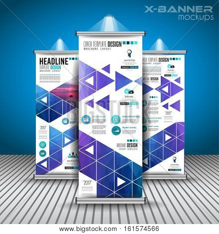 Set of Advertisement roll up business flyers or brochure banners with vertical design. Vector template for cover presentation for modern x-banner and flag-banner.