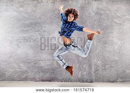 Young Girl Dancing, Jumping.