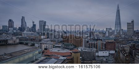 London UK - 12th December 2016: A panoramic view of Central London
