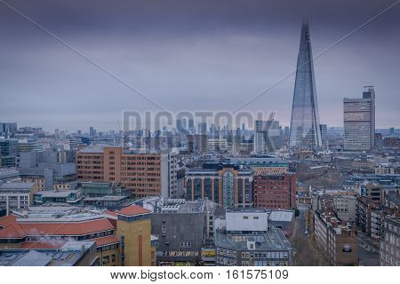 London UK - 12th December 2016: A view of Central London seen from the Tate Gallery towards The Shard
