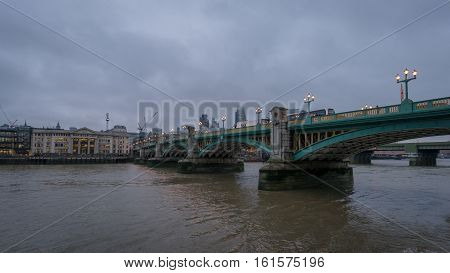 London UK - 12th December 2016: A view of Southwark Bridge crossing the River Thames