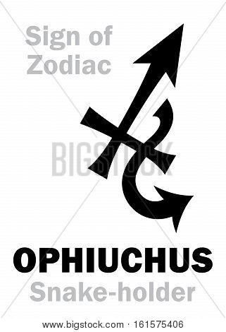 Astrology Alphabet: 13th Sign of Zodiac OPHIUCHUS / SERPENTARIUS (The Snake-holder). Hieroglyphics character sign (single symbol).
