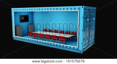 3d Illustration of Container Office. Reuse Container for building houses or office.