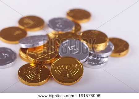 Image of Jewish holiday Hanukkah with chocolate coins