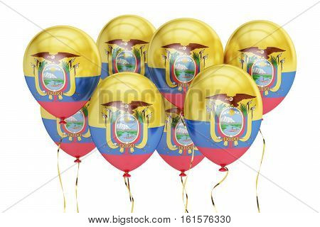 Balloons with flag of Ecuador holyday concept. 3D rendering isolated on white background