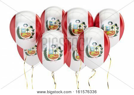 Balloons with flag of Peru holyday concept. 3D rendering isolated on white background
