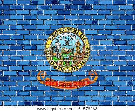 Flag of Idaho on a brick wall with effect- Illustration,  The flag of the state of Idaho on brick background,  Idaho flag in brick style