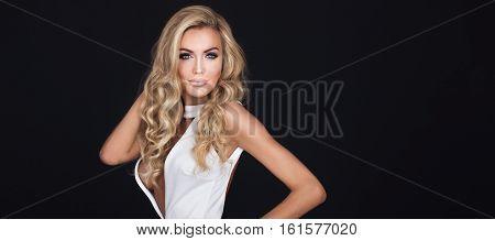 Portrait Of Blonde Beautiful Woman.