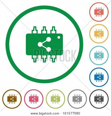 Connect hardware flat color icons in round outlines