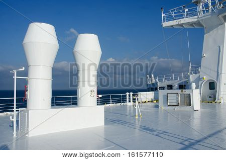 Upper deck of passenger ferryboat with ventilation pipes