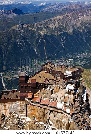 View over Chamonix. Includes Aiguille du Midi (10k feet above Chamonix)