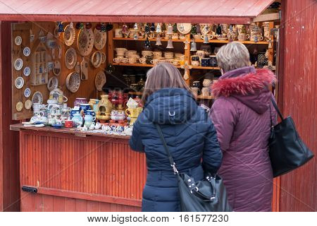 Brno,Czech Republic-December 5,2016: People browsing market stalls at Christmas market on the Cabbage Market on December 5, 2016 Brno Czech Republic