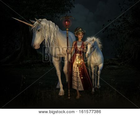 3d computer graphics of a girl with staff and lantern and two unicorns