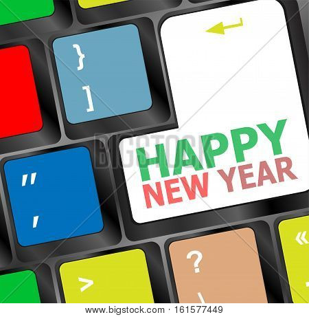 Computer Keyboard With Happy New Year Key