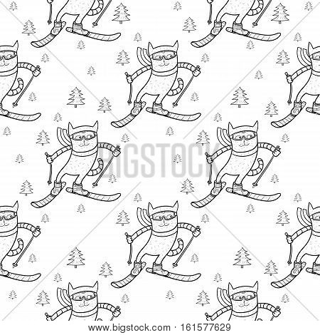 Cat skiing in the forest. Winter sportslalom speed skier extreme vector illustration seamless pattern white background
