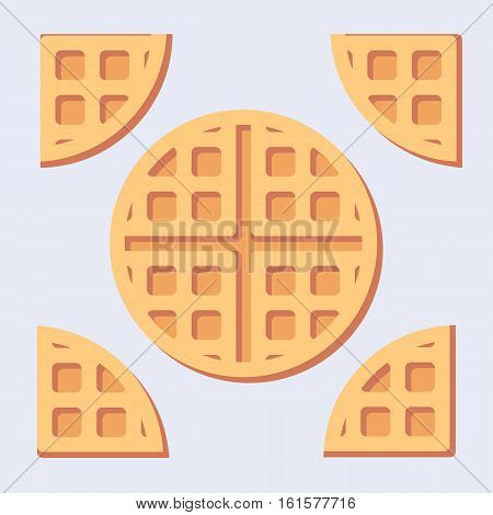 Flat minimalistic illustration of sweet belgian waffles solid and cuted.