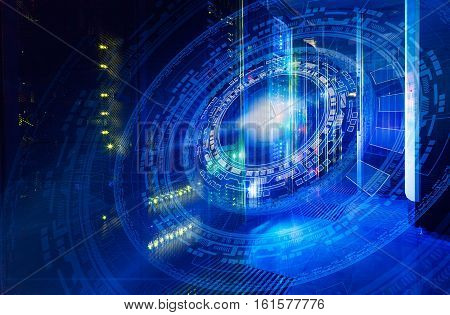 futuristic tech scheme on background fantastic symmetric number mainframes