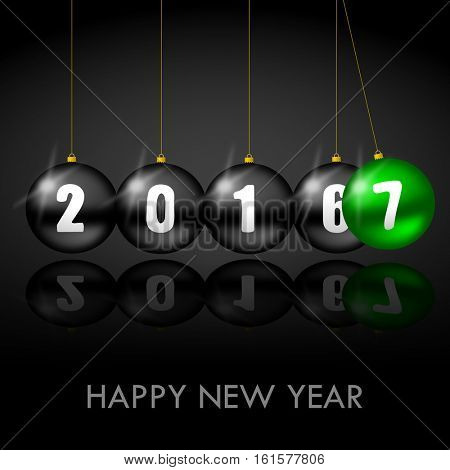 Happy New Year 2017 greeting card with christmas balls.
