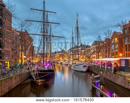 Historic Sailing Ships At The Annual Winterwelvaart Festival