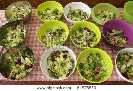 Bowls Of Lettuce And Salad In The Canteen