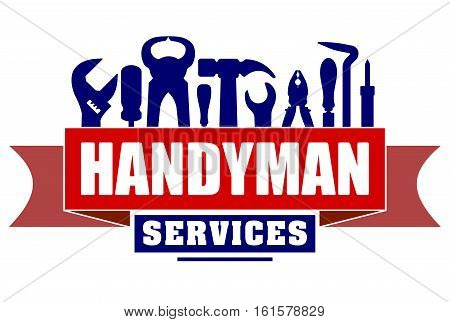 Handyman services vector design for your logo or emblem with red banner and set of workers tools. There are wrench screwdriver hammer pliers soldering iron scrap.