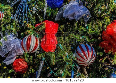 A view of some of the decorations on the Christmas tree found in Helen, Georgia during its annual Christkindlmarkt.