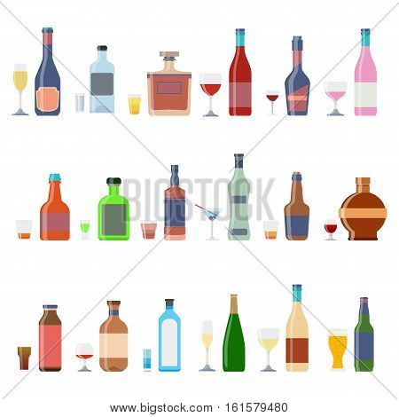 Alcohol bottles beverages with glasses. Alcohol whiskey cocktail bottle container set. Drink menu concept different beverages glasses. Vector illustration icons
