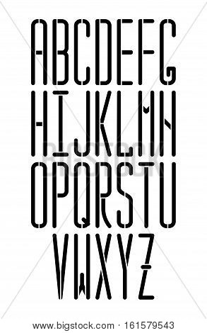 Stencil Thin Vector Monospace Sans Serif Font With Rounded Corners. Modern Condensed Font. Can Be  U