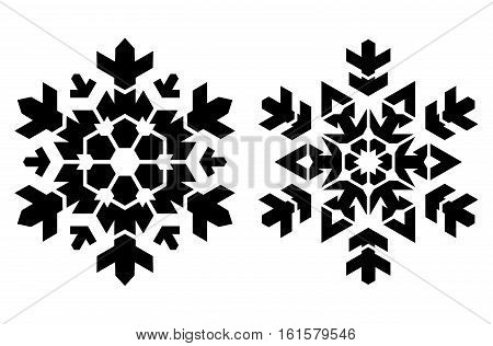 Pair of stecil style snowflakes. Can be used as stencil-plate for your color paint or other design.