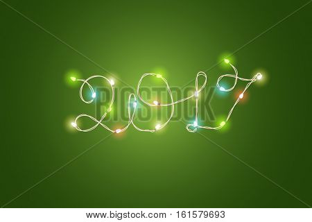 Christmas color garland lettering. Happy new 2017. Vector new year greeting card