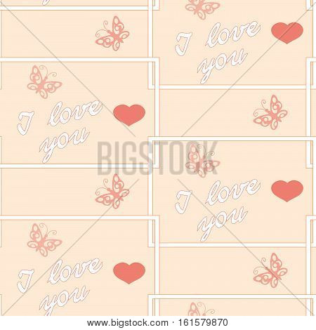Seamless romantic pattern with hearts and text I love you for decorate and packing presents of Valentine Day wedding romantic holidays. eps 10.