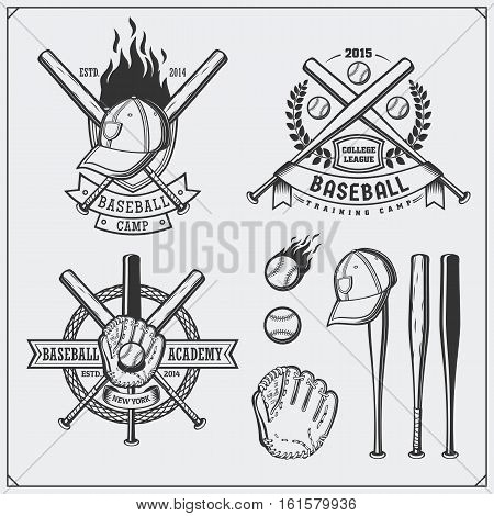 Baseball club emblems, labels and design elements. Baseball player, balls, helmets and bats. Baseball player, ball, helmet, glove and bat.
