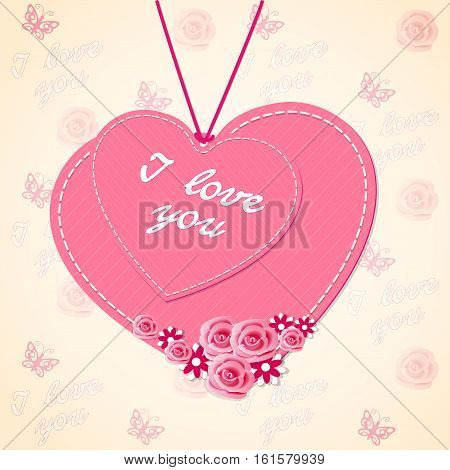 Scrapbooking two hearts with flowers roses and text I love you on the vintage background. Image for Valentine`s Day card. eps 10.