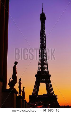 Scenic View Of The Eiffel Tower During Sunrise