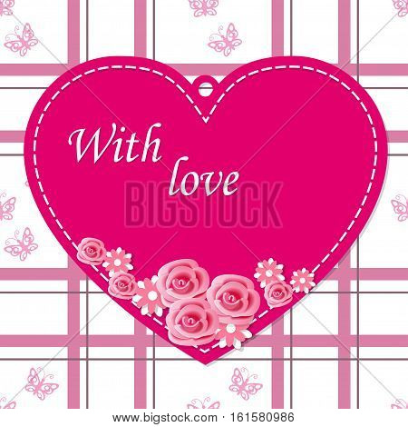 Scrapbooking heart with flowers roses and text With love on the vintage background. Image for Valentine`s Day card. eps 10.