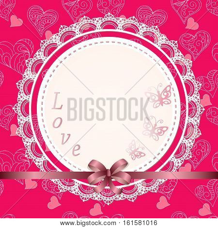 Colorful romantic card for Valentine`s Day save the date invitation wedding with blank napkin for you text and ribbon on the hand drawn background with ornamental doodle hearts . eps 10.