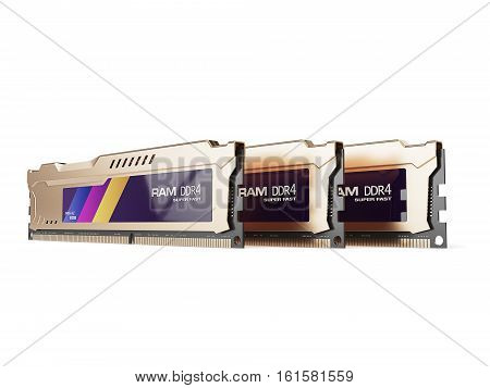 computer random access memory RAM modules isolated on the white background. 3d illustration