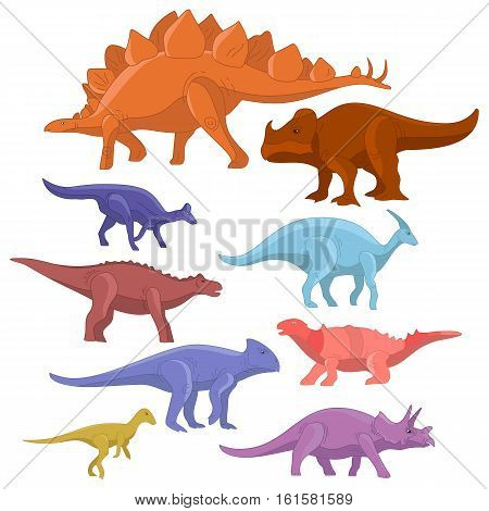 Different type of cartoon dinosaurs cute monster set. Dinosaur cartoon collection prehistoric character tyrannosaurus funny animal. Vector art
